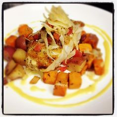 Rockfish on Sweet Potato Hash with Shaved Fennel Slaw - Blue Hill Tavern in Baltimore.