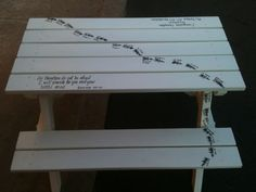 Fingerprint Ants on Children's Picnic Table for School Auction.  Used exterior paint on it all.