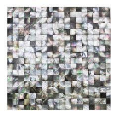 Splashback Tile Lokahi Coule Black Squares 12 in. x 12 in. x 2 mm Pearl Shell Mosaic Tile