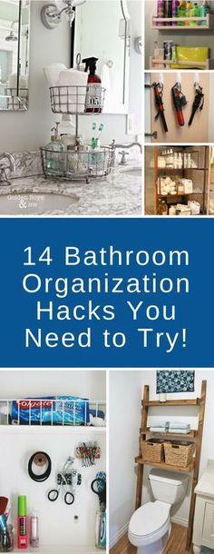 Bathroom Organization Hacks - So many brilliant ideas here to organize your bathroom - love the spice racks for shampoo! #bathroom #organization #storage