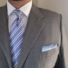 """sartorialworld: """" Very interresting two tone blue pocket square from @simonnotgodard No name suit @calabrese1924 tie @charlestyrwhitt shirt #menswear #menswearstyle #style #ootdmen #menwithstyle #gq..."""