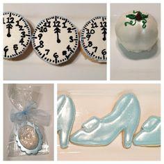 Cinderella dessert table. pumpkin shaped cake balls, clock crispy treats, chocolate cameo favors, Cinderellas slipper sugar cookies. #cinderella treats