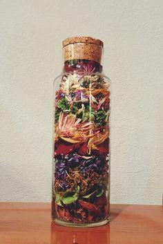 Dried flowers in a jar.