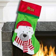 tangled in lights polar bear christmas stocking thingsengraved thingsengravedgifts polar bear christmas