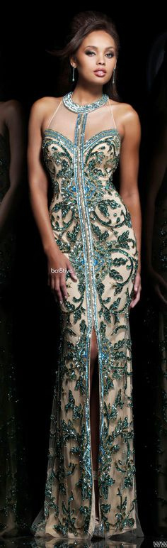 Off-White and Teal Evening Dress