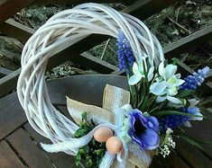 Easter And Spring Wreath Blue White