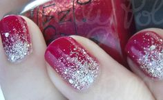 Red and silver glitter ombre nails.