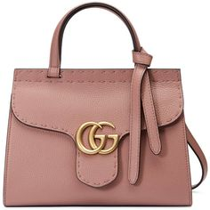 Gucci Gg Marmont Leather Top Handle Mini Bag ($1,890) ❤ liked on Polyvore featuring bags, handbags, gucci, rose, genuine leather purse, gucci handbags, beige purse and lightweight purses