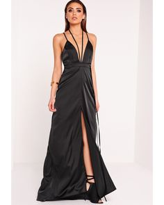 7f515fd6a1 Missguided | Peace + Love Satin Tie Waist Maxi Dress Black | Lyst Top  Clothing Stores