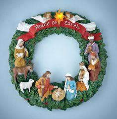 """""""Peace on Earth"""" Christmas Nativity Door Wreath"""