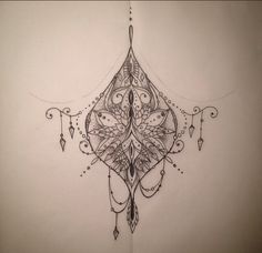 Sternum tattoo. Really like the asymmetry and loose boho look. Especially the top loop. Would maybe be cool to put an image in the middle amongst the design. Love the overall look