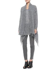 Long-Sleeve Draped Mohair Cardigan, Mohair Chunky Knit Tank & Stretch Zipper Skinny Pants by Michael Kors at Neiman Marcus.