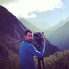 Our location today with #Everest in the distance. Hour hike up from Namche. AJE's @Miquel Toran at the camera.