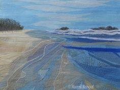Textile Art by Naomi Renouf Textile Fiber Art, Textile Artists, Beach Quilt, Ocean Quilt, Landscape Art Quilts, Landscapes, Thread Painting, Silk Painting, Creative Textiles
