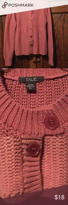"""Mauve Sweater Pretty and soft a-line sweater that buttons down the front, almost like a cardigan but meant to wear closed I think. It's in great used condition. Second picture is most indicative of color. Chest measurement is 17"""" so although the tag indicates an XL I'm marking it as a medium. Because of the design it would work for a small or medium-sized person. TALIE Sweaters"""