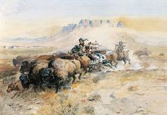 "CHARLES RUSSELL, 1899 BUFFALO HUNT, Horses, Indians, Western, 20""x14"" CANVAS ART"