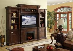 Legends Furniture Berkshire Fireplace Entertainment Center with Fireplace Console Wall Units With Fireplace, Fireplace Console, Fake Fireplace, Fireplace Wall, Fireplace Ideas, Fireplace Modern, Fireplace Furniture, Black Fireplace, Electric Fireplace Entertainment Center