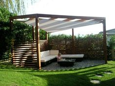 Pergola with umbrella: an absolute guarantee of well-being, ., Pergola with umbrella: an absolute guarantee of well-being, . Though ancient around idea, this pergola is experiencing somewhat of a contemporary rebirth all these days. Pergola D'angle, Corner Pergola, Pergola With Roof, Pergola Lighting, Pergola Shade, Modern Pergola, Back Gardens, Outdoor Gardens, Gazebos