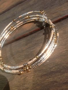 Layered Beaded Wrap Memory Wire Bangle by KimberlysCraftini, $15.00