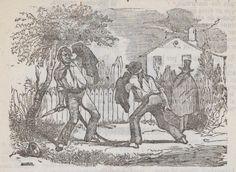 Xilografía en cabecera de una pelea a navajazos entre dos hombres, otro los ve desde lejos y tapando su rostro con una capa