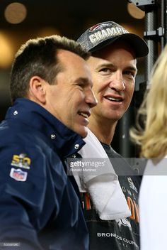 Peyton Manning #18 and head coach Gary Kubiak of the Denver Broncos look on after Super Bowl 50 at Levi's Stadium on February 7, 2016 in Santa Clara, California. The Broncos defeated the Panthers 24-10.