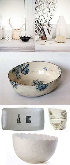 I like the contrast of the delicately painted  flowers and the misshapen bowl.