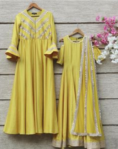HELLO SUNSHINE New online! Designer yellow gota embroidered kurta and gown! Check out their collection NOW! Pakistani Dresses, Indian Dresses, Indian Outfits, Indian Attire, Indian Wear, Kurta Designs, Blouse Designs, Ethnic Fashion, Indian Fashion