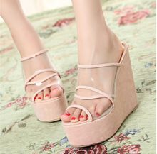 Ladies Wedge Slippers 2015 Fashion Platform Sandals Transparent Brand Flip Flops Women Summer Shoes sandalias mujer(China (Mainland))