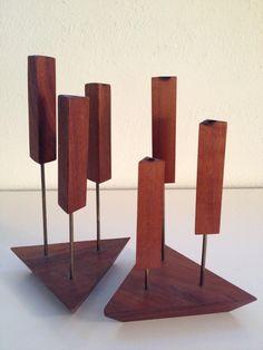 SET Of 2 Vintage 1960s DANISH Mid-Century Modern TEAK Wood CANDLE Holders STICKS