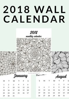 Printable Coloring Calendar For 2019 And 2018 Household Planner