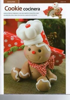 Can use salt clay dough. -Gumpaste (Clay) Gingerbread man Cake Decorating Tutorials (How To's) Tortas Paso a Paso Gingerbread Decorations, Christmas Gingerbread, Christmas Crafts, Xmas, Gingerbread Village, Christmas Baking, Christmas Home, Christmas Ideas, Fondant Figures