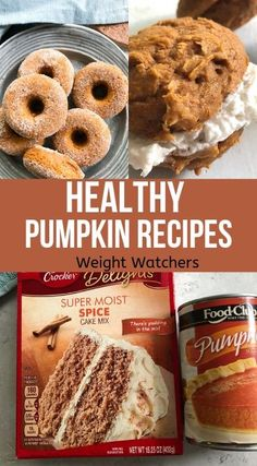 Pumpkin Recipes Healthy Pumpkin recipes with Weight Watcher points. Only 2 ingredients needed to make these quick tasty Fall treats. Healthy Pumpkin recipes with Weight Watcher points. Only 2 ingredients needed to make these quick tasty Fall treats. Weight Watchers Desserts, Ww Desserts, Healthy Pumpkin Desserts, Clean Pumpkin Recipes, Weight Watchers Pumpkin Bread Recipe, Recipes With Canned Pumpkin, Weight Watcher Cookies, Weight Watcher Smoothies, Autumn Desserts