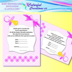 Baby Shower Invitation A Little Girl For Personal Baby Shower Invites For Girl, Baby Shower Invitations, 2nd Baby Showers, Edit Text, Invitation Set, Cute Pink, Little Girls, Finding Yourself, Girly