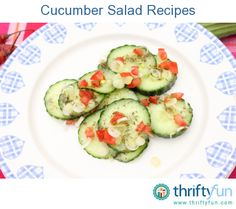 This page contains recipes for cucumber salad. Cucumbers work as well as lettuce as the base for a healthy salad. Cucumbers have a very mild taste so can be flavored to accompany many different international cuisines.