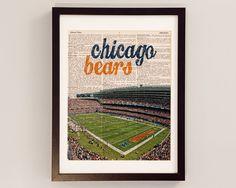 Chicago Bears Dictionary Art Print - Soldier Field - Print on Vintage Dictionary Paper - Football Art, Chicago Art, Da Bears