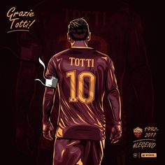 On what has been a very emotional day to say the least, a day in which we witnessed the last game of football for AS Roma legend Francesco Totti, here… Football Player Drawing, Good Soccer Players, Football Players, Football Gif, Chelsea Football, Sport Football, As Roma, Roma Club, Totti Francesco