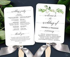 Garden Greenery Wedding Fan Program Printable Wedding Fan