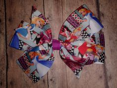"5"" Alice in Wonderland Pinwheel Hair Bow by ILoveYouMoreCreation on Etsy"