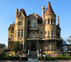 Bishop's Palace, or Gresham's Castle, Galveston, TX.  This amazing house was built 1887-1893.  Love the several towers, the iron railings, arches, and amazing amount of carvings and other detail on this stone building.