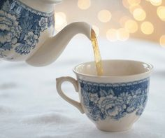 pretty teapot and teacup