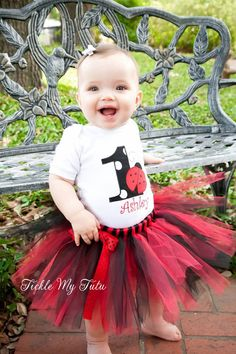 Ladybug Birthday Tutu Outfit by TickleMyTutu on Etsy, $54.95