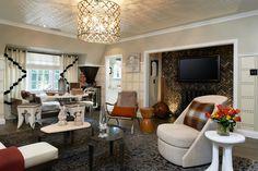 Pasadena Showcase House of Design - Manoir Gray Flooring & Antique Firebrick Decor, White Tin Ceiling Tiles, House, Ceiling Tiles, Tile Installation, Home Decor, Grey Flooring, Room, Interior Decorating