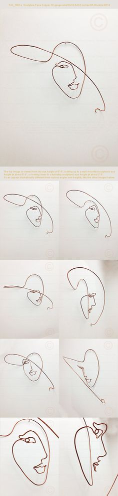 """Metal wire sculpture of a woman's face that is 16"""" width x 13.5"""" height x 5.5"""" in depth from a wall. Medium: 10 gauge round bare Copper wire"""