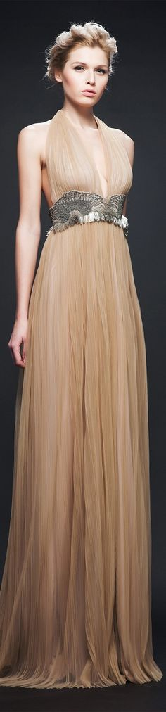 Veloudakis ~ Beige Halter Pleated Gown, AW 2015-16