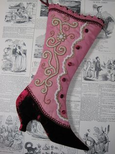 Victorian Beaded Rose & Burgundy Christmas Stocking by arkathwyn