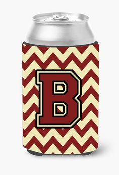Letter B Chevron Maroon and Gold Can or Bottle Hugger CJ1061-BCC