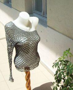 metallic net top with one sleeve