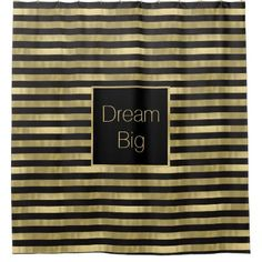 #personalize - #Chic Gold and Black Stripes Dream Big Personalized Shower Curtain