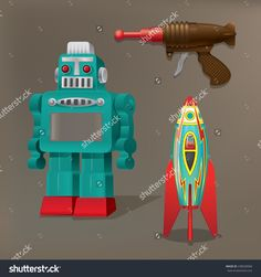 Nostalgic toys: Robot, spaceship and laser gun Astronaut Party, Spaceship, Guns, Vectors, Cross Stitch, Pictures, Space Ship, Weapons Guns, Weapons