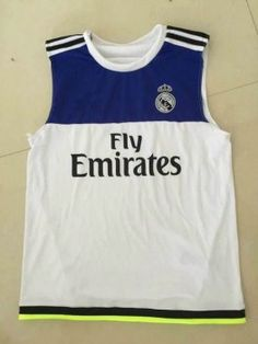 a8e8551b025 Real Madrid Football Shirt Blue White Sleeveless Replica Soccer Shirt   E116  Cheap Football